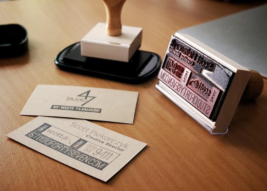 Graphic design studio 47 productions business card stamps colourmoves